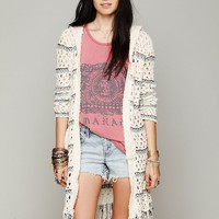Free People Hooded Stripe Fringe Cardi