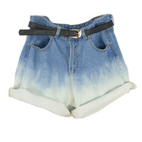 Oversized High Waist Denim Shorts with Rolled Cuffs in Tie Dye