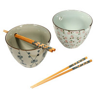 Floral Pattern Udon Bowl Set with Chopstick Holder | AsianFoodGrocer.com, Shirataki Noodles, Miso Soup