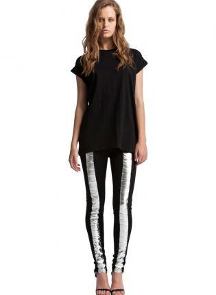 Black Leggings - Black Stretchy Pant with Metallic | UsTrendy