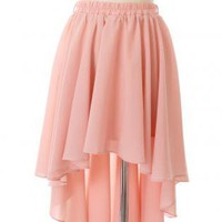 Pink Knee Skirt - Peach Asymmetric Waterfall Skirt with | UsTrendy