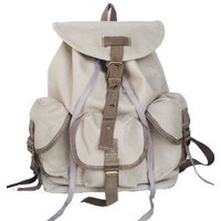 Military Inspired Stylish Backpack Canvas Day Pack Beige