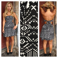 Black Strapless Tie Back Aztec Print Dress