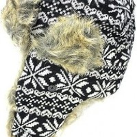 Sakkas Unisex Snowflake Wool Tweed Faux Fur Lined Winter Trooper Aviator Hat:Amazon:Clothing