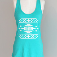 Good Times Geo Tribal Eco Pima Cotton Modal Racerback Tank Top