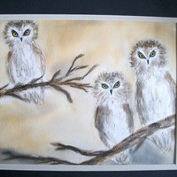 Owls Misty Morning | WillowRockDesigns - Painting on ArtFire