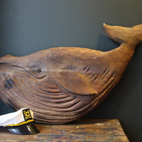 Folk Art Whale / Large Vintage Wood Whale Carving by sevenbc