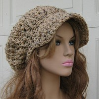Rustic Tan Tweed Cap Visor Tam Hat Hippie Slouchy Newsboy Beanie Billed | purplesagedesignz - Accessories on ArtFire