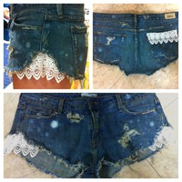 Lace Denim Shorts  Made to order by carlymarston on Etsy