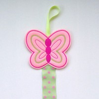 Pink Butterfly Felt Clippie Keeper, Hair Accessory Holder, Bow Holder