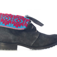 Charcoal Suede Boots with Red & Blue Tribal Print Foldover D