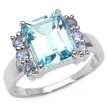 4.50 Carat Genuine Blue Topaz Octagon & Tanzanite Round Sterling Silver Ring