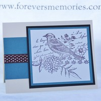 Vintage Style Flower and Bird Handmade Card with Polka Dot Ribbon