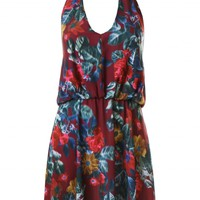LOVE Vintage Floral Print Halter Neck Skater Dress