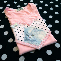 Light Pink Persian Cat Applique Tee