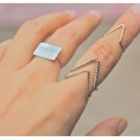 Bronze & Silver Knuckle Wire Ring Jewelry NEW Hipster Delicate Cute 1013 Fashion