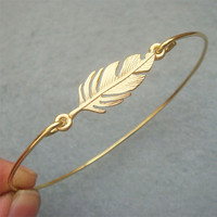 Leaf Brass Bangle Bracelet Style 7 by turquoisecity on Etsy
