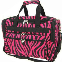 Hot Pink Black Zebra Duffle Dance Cheer Gym Bag 19""