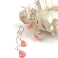 Handmade Silver Wire Wrapped Earrings Waves with Pink Glass Drops | BrainofJen - Jewelry on ArtFire