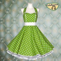 50's vintage dress full skirt green white by Lolablossomclothing