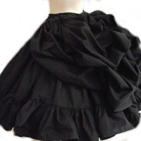 Black Steampunk Skirt Bustle Ruffled Victorian by MGDclothing