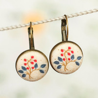 Antique Leverback Earrings - My Baltimore Album - Red and Blue Tree on Beige - Romantic Fabric Covered Buttons Earrings
