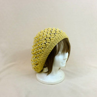 Yellow Slouchy Beanie Lace Beaded Hat Baggy Knit Large Slouch