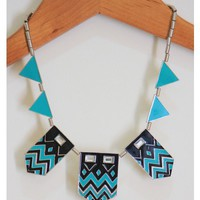 Black and Mint Aztec Necklace
