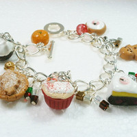 Christmas Food Charm Bracelet . Polymer clay.