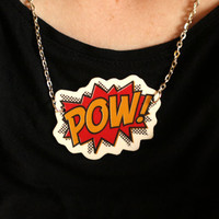 Comic style 'Pow' necklace, retro, funky and plain awesome
