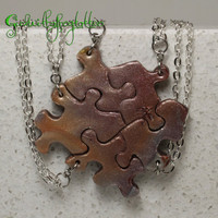 Puzzle Piece Necklace Set of 5  Best Friend Pendants Metal color mix Polymer Clay