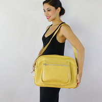 Vintage Mustard Yellow Suitcase Overnight Bag / Retro 1970s Large American Tourister Escort Carry On Tote / Retro Travel Luggage
