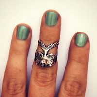 silver bird knuckle ring, midi ring, bird ring, silver knuckle ring, unique ring