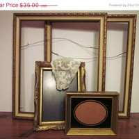 ON SALE Picture Frames Gold Wood, Vintage, Retro, Set of 4