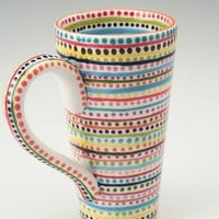 Tall Stripes and Dots Mug by owlcreekceramics on Etsy
