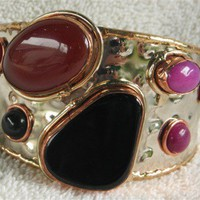 BLACK ONYX CARNELIAN AND PINK AGATE CUFF BRACELET | DavisDesignStudio - Jewelry on ArtFire