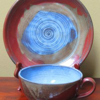 Soup and a Sandwich Handmade Pottery Plate and Bowl Set | TheMudPlace - Ceramics & Pottery on ArtFire