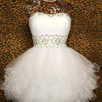Cheap White Mini Prom dress, Short Homecoming Dress, Cocktail Dress, Dress for homecoming 2013