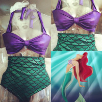 Mermaid highwaisted bathing suit by bowsbySamanthaRose on Etsy