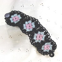 Lovely Crochet Black Violet & Blue Granny Square Bracelet