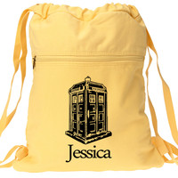 Dr Who Tardis Backpack Yellow Custom and Personalized Just for You