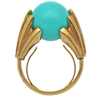 Vintage Modernist Ring, 1980s Turquoise Lucite Sphere in Gold Metal, Free Shipping