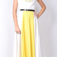 Vintage 70s White  Yellow Pleated Full Dress Mod Color Block Ruffle M Sweep