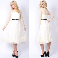 Vintage 70s White Lace Cocktail Party Dress Polka Dot Nude Midi Mod Mad Men S