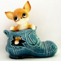 Vintage Salt and Pepper Shakers - Puppy in Blue Boot - Too Cute | TheElusiveLemon - Kitchen & Serving on ArtFire