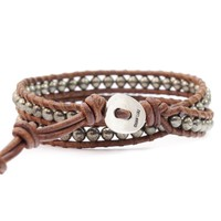 Pyrite Two Wrap Bracelet on Natural Brown Leather - Chan Luu