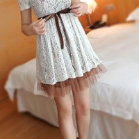 Elegant Lace Spliced Bowknot Dress