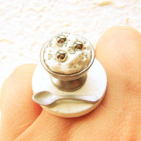 Miniature Food Ring Candy Vanilla Ice Cream Silver Balls
