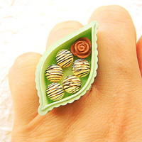 Box Of Chocolates Ring Kawaii Miniature Food Jewelry