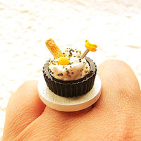 Food Ring  Chocolate  Vanilla  Ice Cream Candy Cookie Miniature Food Jewelry